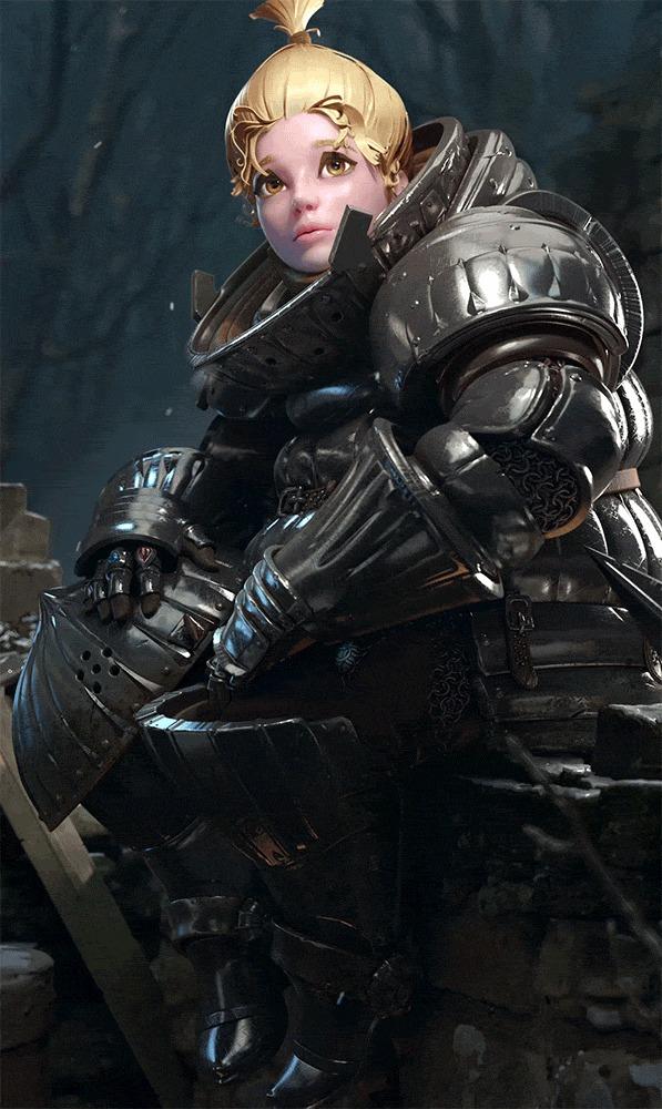 Onion Knight Sieglinde of Catarina Арт, Artstation, Dark Souls, 3D, Гифка, Длиннопост