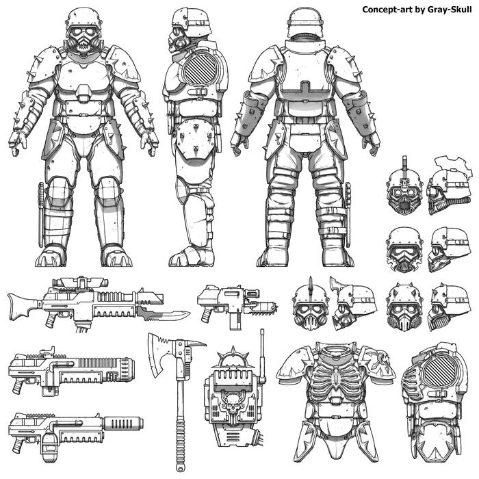 Концепт-арт для миниатюр Багровых Штурмовиков команды Артель quotWquot (by Gray-Skull)