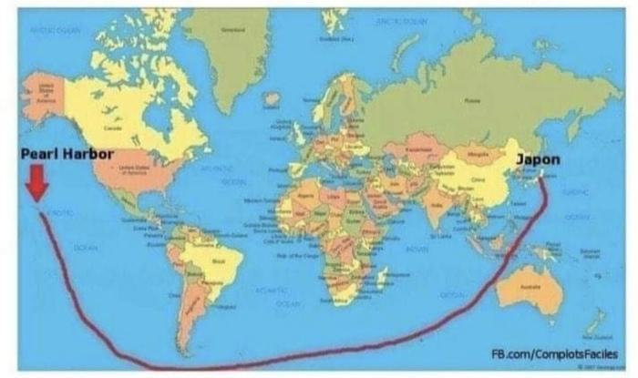 Вот так, по мнению плоскоземельщиков, Япония атаковала Перл Харбор