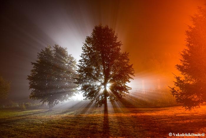 Ночной туман, Московская область. Август 2020