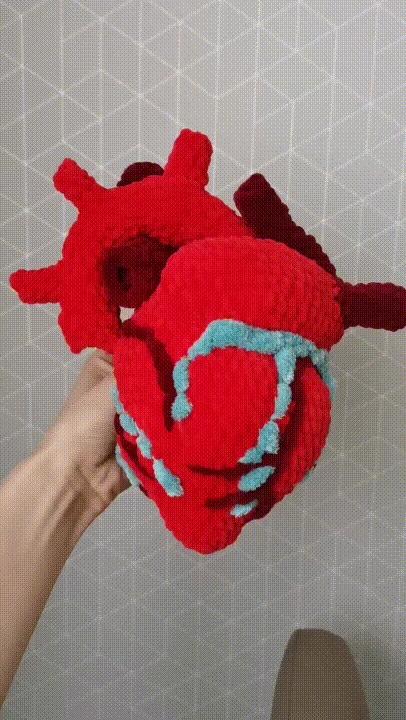 Вязаное сердце Рукоделие с процессом, Рукоделие, Вязание крючком, Сердце, Анатомия, Своими руками, Гифка, Длиннопост