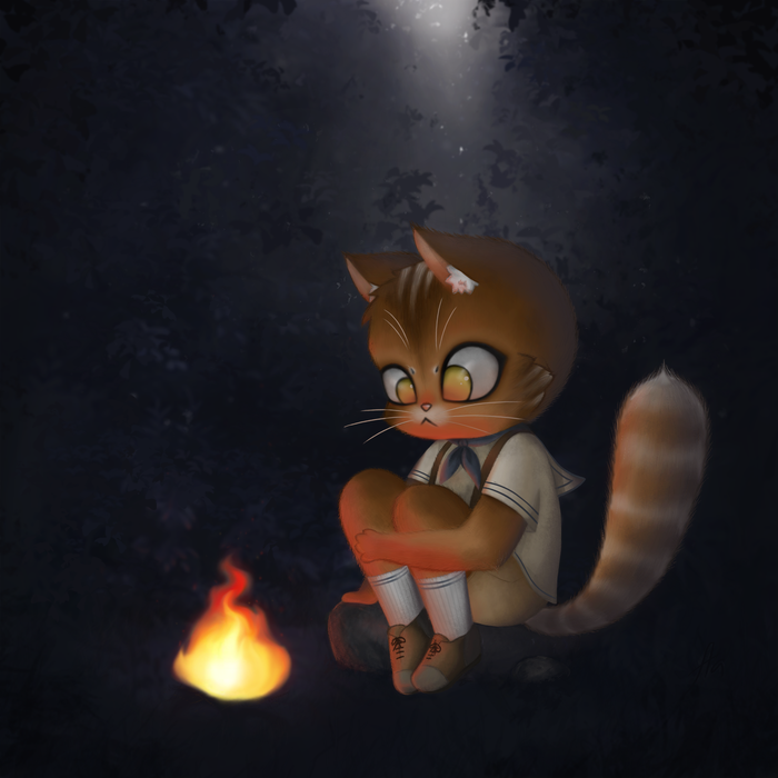 Котик Первый рисунок в Photoshop