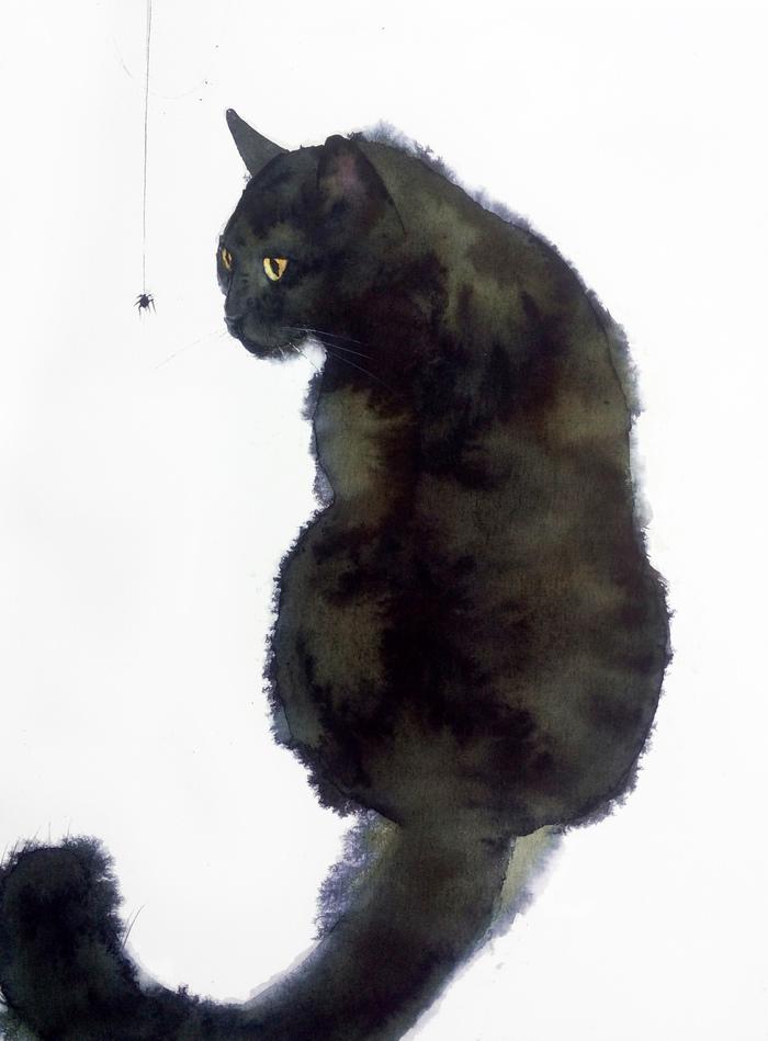 Чёрный кот. Акварель