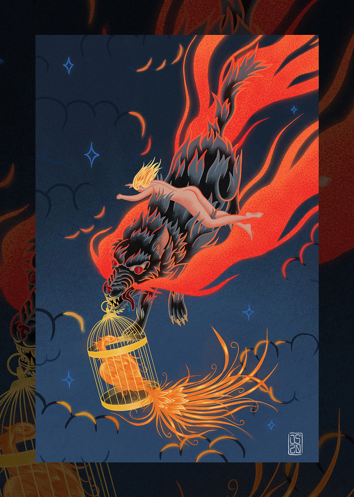 Иллюстрация по мотивам сказки Иван-царевич и серый волк