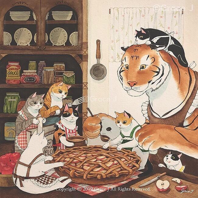 Простые радости одного тигра и дюжины котиков