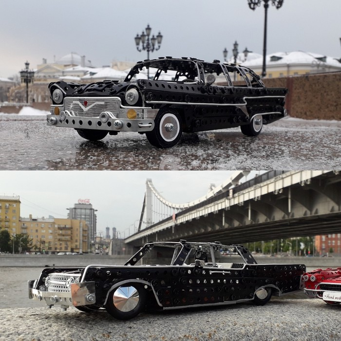 GAZ-13, Lincoln Continental из металлического конструктора, проволоки, картона, кожи и резины