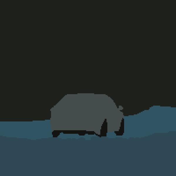 Автомобиль в заснеженном дворе Пиксель, Pixel Art, Двор, Зима, Авто, Снегопад, Анимация, Сугроб, Видео, Гифка, Длиннопост