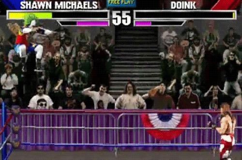 WWF WrestleMania: The Arcade Game Wrestlemania, Sega Mega Drive, Рестлинг, Arcadegame, Гифка, Видео, Длиннопост