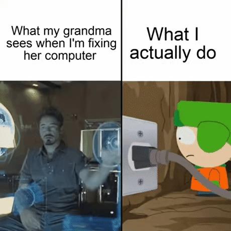 Что моя бабушка видит, когда я чиню её компьютер Картинка с текстом, Юмор, Перевод, South Park, Тони Старк, Marvel, Железный человек, Гифка