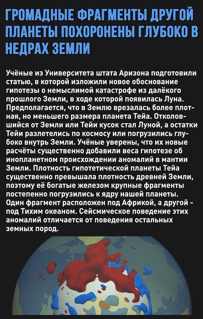 Обширные фрагменты другой планеты могут быть похоронены глубоко внутри Земли Земля, Наука, Космос, Луна, Гипотеза, Картинка с текстом