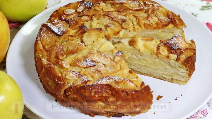 Сливочный пирог с яблоками Пирог, Яблочный пирог, Выпечка, Десерт, Видео, Длиннопост, Рецепт, Кулинария, Видео рецепт, Видеоблог, Шарлотка