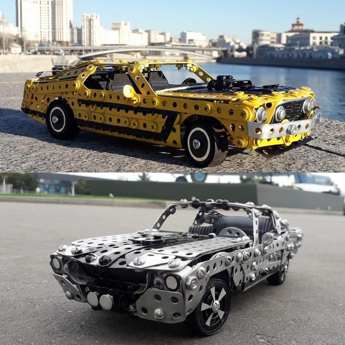 1969 и 1967 Ford Mustang из металлического конструктора, проволоки, резины, кожи и картона