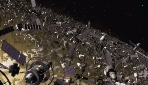 Космический мусор - при чём тут Дарвин, римляне и динозавры ? Астрономия, Космос, Спутник, Научпоп, Наука, Исследования, Гифка, Длиннопост