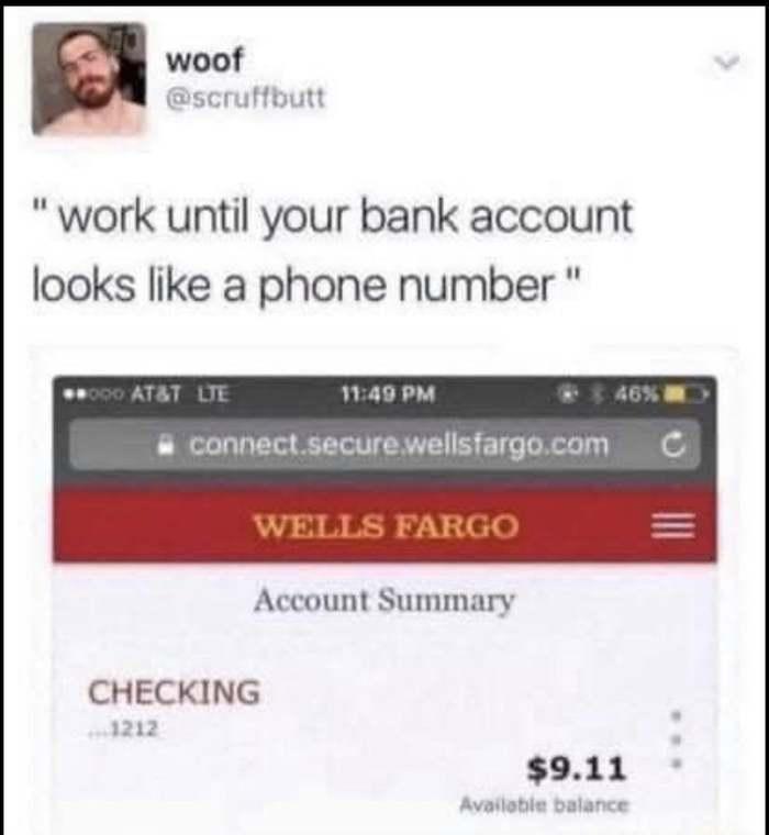 Работайте, пока сумма на вашем банковском счете не будет выглядеть как номер телефона