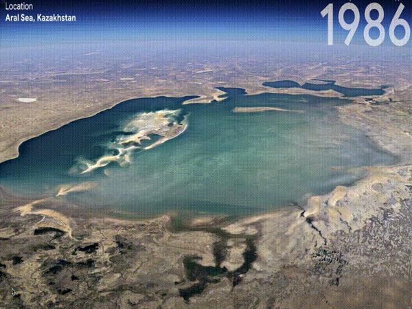 Google Earth выкатили новую функцию таймлапс на основе 24 миллионов снимков за 37 лет Земля, Природа, Гифка, Google Earth, Таймлапс, Аральское море, Изменения, Ледник