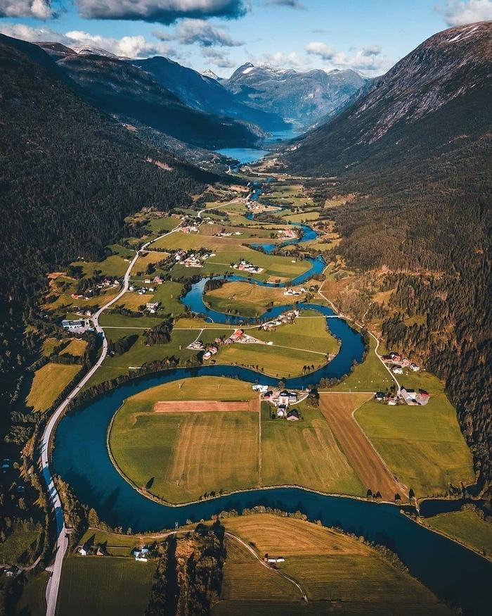 Стрюн, Норвегия Фотография, Норвегия, Европа, Горы, Красота, Река, Пейзаж